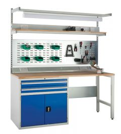 Euroslide SystemTek Workbenches 1800mm - 2 Drawers, 1 Cupboard, 2 Legs.