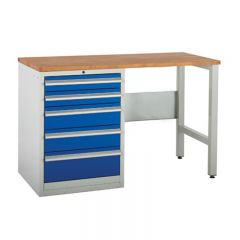 Euroslide SystemTek Workbenches 1500mm - 5 Drawers, 2 Legs.
