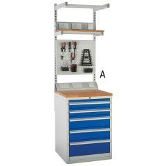 Euroslide SystemTek Workbenches 600mm - 5 Drawers. Includes above bench accessories.