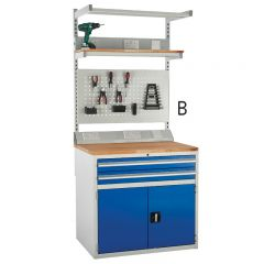 Euroslide SystemTek, 2 Drawer and double cabinet with above bench accessories.