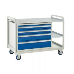 Euroslide Trolley - 4 Drawer, 2 small Shelves.