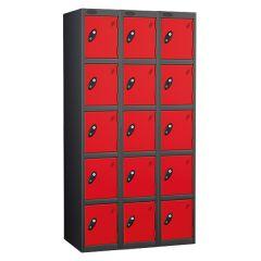 Probe Five Door Locker - 3 Nest - Black Carcass - Red Door