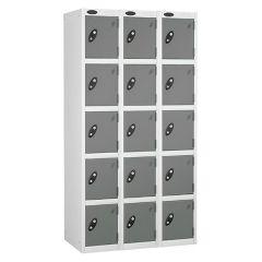 Probe Five Door Lockers - 3 Nest - White Carcass - Silver Doors