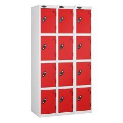 Probe Four Door Lockers - 3 Nest - White Carcass - Red Doors