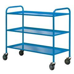 Fully Welded 3 Shelf Trolley - Blue