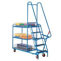 Heavy Duty 5 Step Tray Trolleys - Basket Shelves