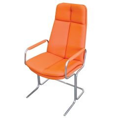 Ele Cantilever Conference Chair - High Back - With Arms - Orange
