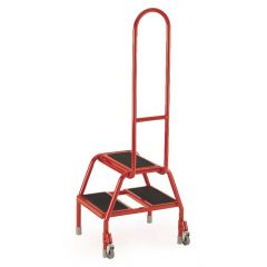 2 Tread with side handle, Red, Tilt and Pull Mobile Steps