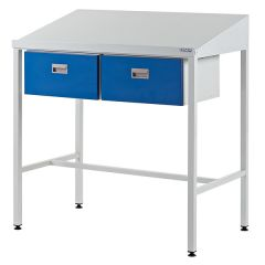 Team Leader Workstation with Sloping Top and 2 Single Drawers
