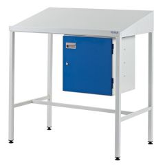 Team Leader Workstation with Sloping Top and Cupboard