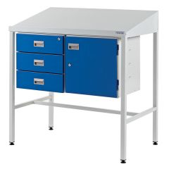 Team Leader Workstation with Sloping Top, 3 Drawers and 1 Cupboard