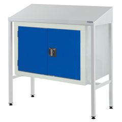 Team Leader Workstation with sloping top and Double Cupboard