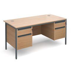 Maestro Double Pedestal Desk - 2x2 Drawers - Beech - W1532