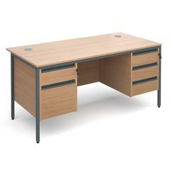 Atlanta Double Pedestal Desk - 2/3 Drawers - Beech - W1532