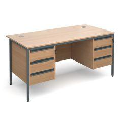 Atlanta Double Pedestal Desk - 2x3 Drawers - Beech - W1532