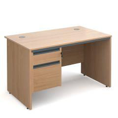 Atlanta Panel End Single Pedestal Desk - Beech - 2 Drawer - W1228