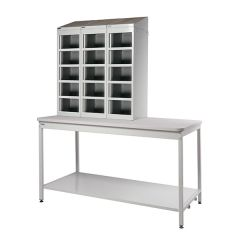 Open Mailroom Bench with Shelf