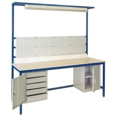 AB2075L (2000 x 750) Laminate top assembly bench with:  5 Drawer Unit, Cupboard, Bars for louvre panels, 4 Louvre panels, Light Rail, Flourescent Light, and Bench Top Trunking with two Twin Sockets
