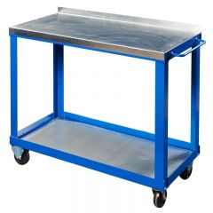 Mobile workbench with steel worktop