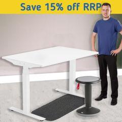 Modulus Height Adjustable Desk Kit - Motion Up Stool - White Frame