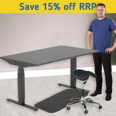 Modulus Height Adjustable Desk Kit - Perch Stool - Black Frame
