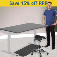 Modulus Height Adjustable Desk Kit - Perch Stool - Silver Frame