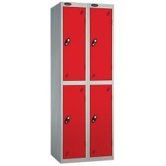 Probe Two Door Locker - 2 Nest - Silver Carcass - Red Door