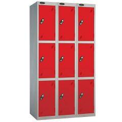 Probe Three Door Locker - 3 Nest - Silver Carcass - Red Door