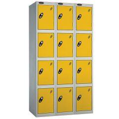 Probe Four Door Locker - 3 Nest - Silver Carcass - Yellow Door