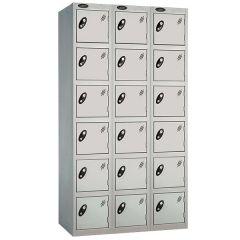 Probe Six Door Locker - 3 Nest - Silver Carcass - Silver Door
