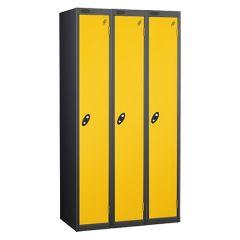 Probe Single Door Locker - 3 Nest - Black Carcass - Yellow Door