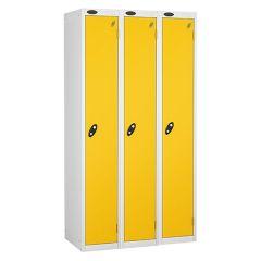 Probe Single Door Lockers - 3 Nest - White Carcass - Yellow Door