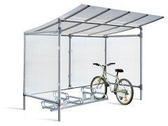 Aluminium cycle shelter with cladding and optional bike rack