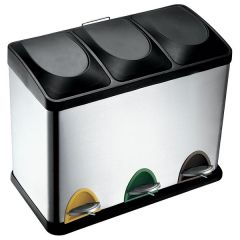 Recycling Pedal Bin - 3 Compartment