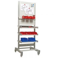 Shelf and Panel Trolley showing optional small parts storage bins and pin board