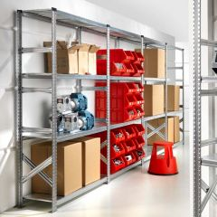Short Span Bolt Free Shelving shown in a storage depot