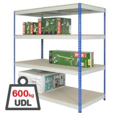 Shortspan rivet shelving with 600kg UDL.