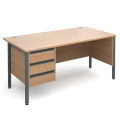 Orlando Single Pedestal Desk - 3 Drawer - W1600 - Beech