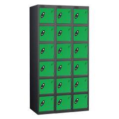 Probe Six Door Locker - 3 Nest - Black Carcass - Green Door