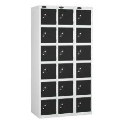 Probe Six Door Locker - 3 Nest - White Carcass - Black Door