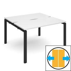Soho Back to Back Sliding Top Desk - D1200 x W1200 - Black Frame - White