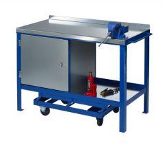 Single Cupboard Mobile Workbench with steel worktop