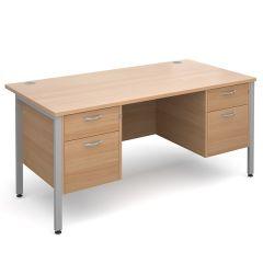 Brooklyn Double Pedestal Desk - 2x2 Drawer - W1600 - Beech