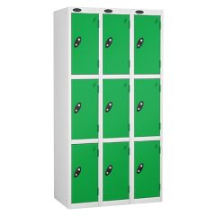 Probe Three Door Lockers - 3 Nest - White Carcass - Green Doors