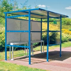Traditional Smoking Shelter - 2 Perspex Sides & Perforated Steel Back Panel