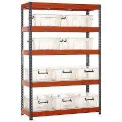 TUFF Shelving with Premium Clear Boxes