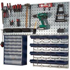 42 Piece Workshop Kit 16 Bins 22 Clips, 1 Cabinet, 3 Panels