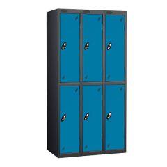 Probe Two Door Locker - 3 Nest - Black Carcass - Blue Door