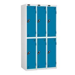 Probe Two Door Lockers - 3 Nest - White Carcass - Blue Doors