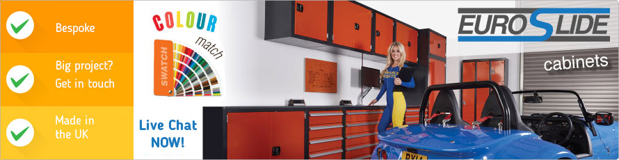 Euroslide Drawer Cabinets and integrated Workbench Tops for sale